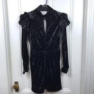 Miha long sleeve open back black velvet dress mini